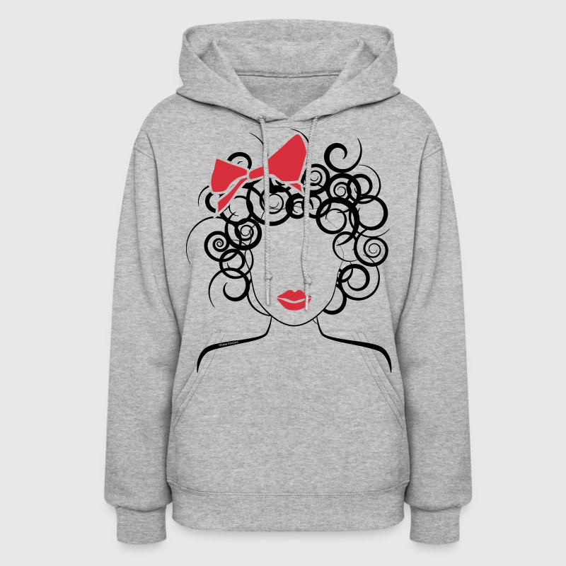 Curly Girl with Red Bow_Global Couture_logo T-Shir - Women's Hoodie