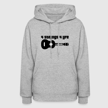 Ukulele 4 Strings 4 Life Black - Women's Hoodie