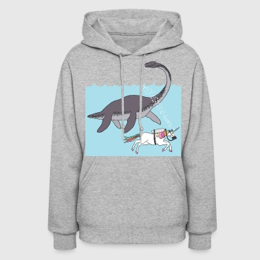 unicorn swimming with loch ness monster - Women's Hoodie