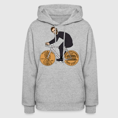 abe lincoln riding bike with penny wheels - Women's Hoodie