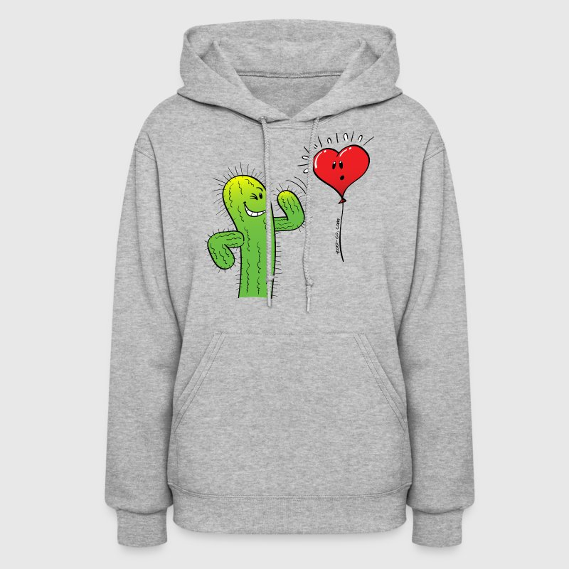 Cactus Flirting with a Heart Balloon - Women's Hoodie