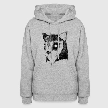 Creepy Creepy Husky Dog Stare Inverted - Women's Hoodie