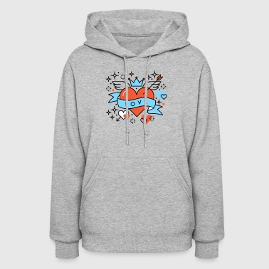 Love Heart Romantic Hipster Composition - Women's Hoodie