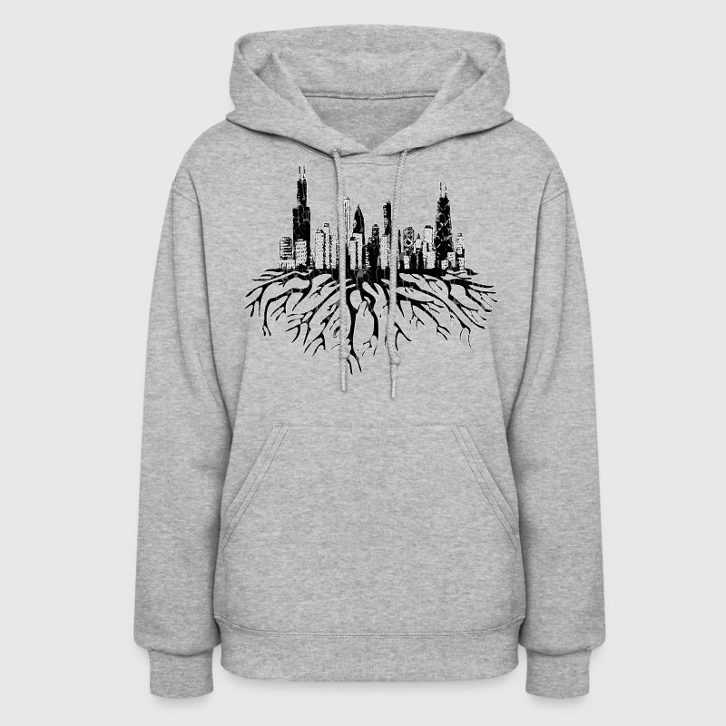 Chicago Skyline Silhouette Vector with Roots Tee - Women's Hoodie