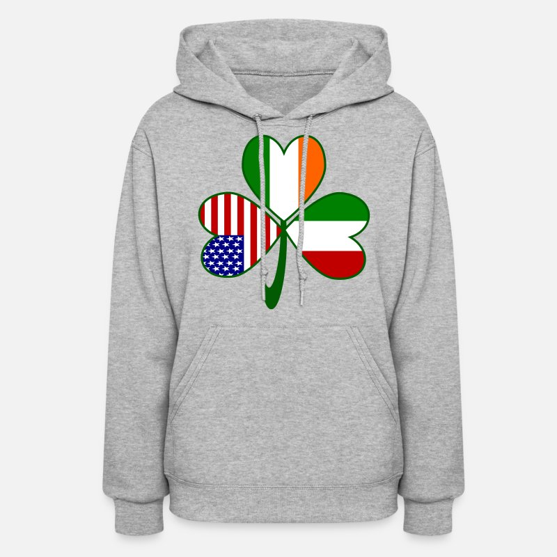 American Hoodies & Sweatshirts - Italian Irish American Shamrock - Women's Hoodie heather gray
