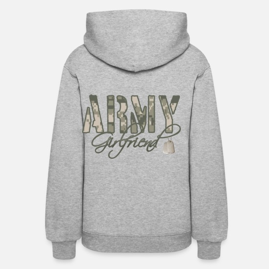 Army Hoodies & Sweatshirts - Army Girlfriend- Dog Tags - Women's Hoodie heather gray