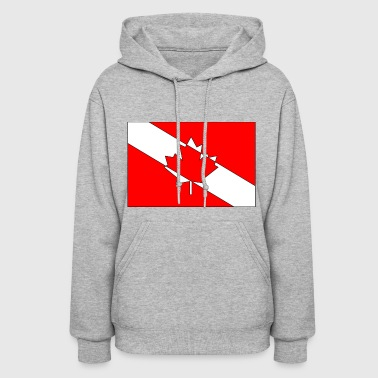 Canadian Diver Flag Red, White and Black Outline - Women's Hoodie