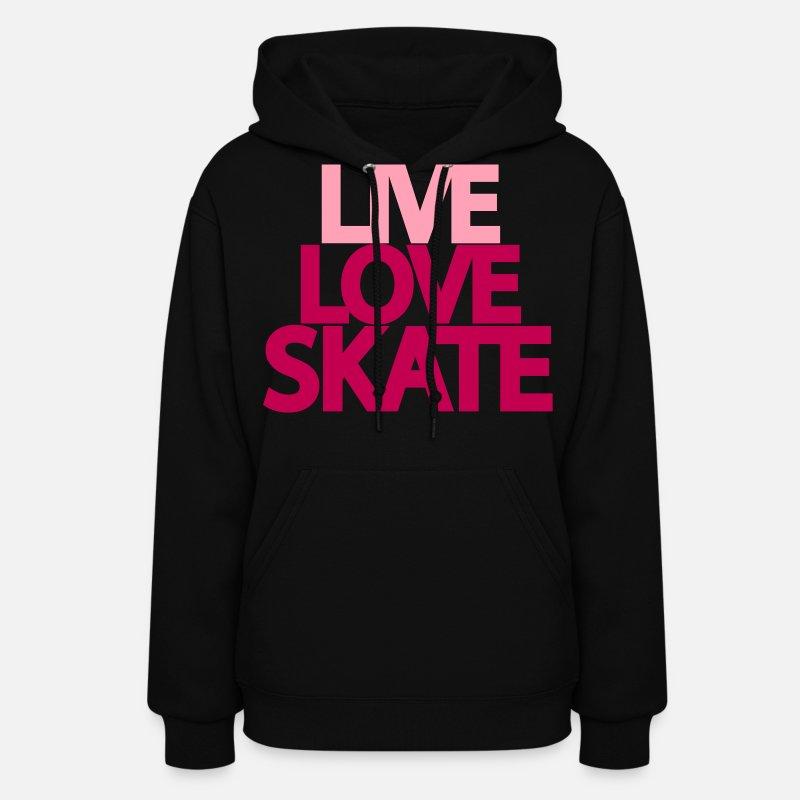 Illustration Hoodies   Sweatshirts - live love skate - Women s Hoodie black 3ab949ad8