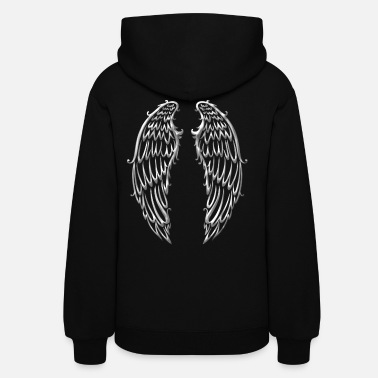 Wing Big wings, angel wings, silver - Women's Hoodie