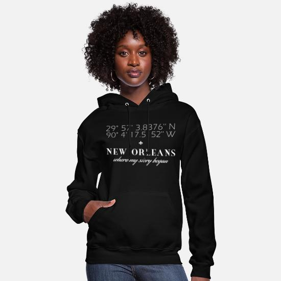 New Hoodies & Sweatshirts - Vector New Orleans Latitude Longitude Story - Women's Hoodie black