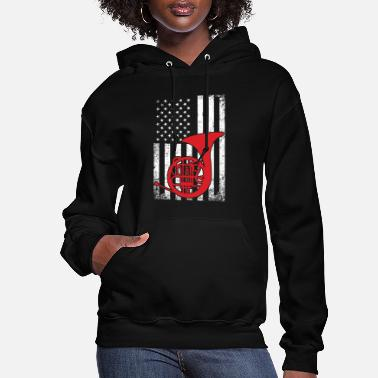United States American French Horn Player Patriotic Hornist - Women's Hoodie