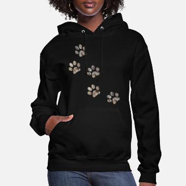 Paw artTS collage art PAW PRINTS dog pet brownz - Women's Hoodie