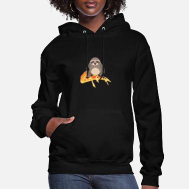 Pizza Cute and Funny Pizza Riding Sloth - Women's Hoodie