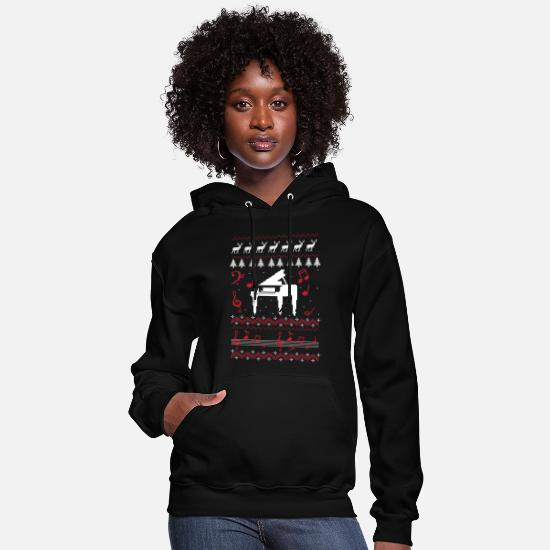 Piano Hoodies & Sweatshirts - Christmas Carol Piano | Ugly Sweater - Women's Hoodie black