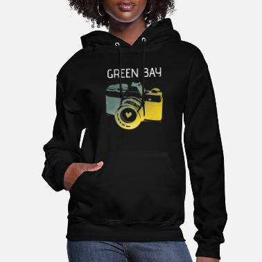 Green Bay camera with heart - Women's Hoodie