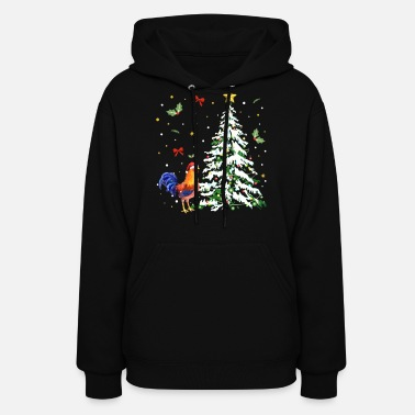 Holiday Chicken tree happy holiday december funny chicken - Women's Hoodie