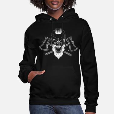 Viking skull with axes Thor and Odin style metal - Women's Hoodie
