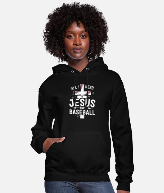Team Party Hoodies & Sweatshirts - I Need Is Jesus And Baseball Christian Cross Mom - Women's Hoodie black