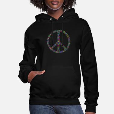 Word Prismatic Peace Sign Word Cloud No Background - Women's Hoodie