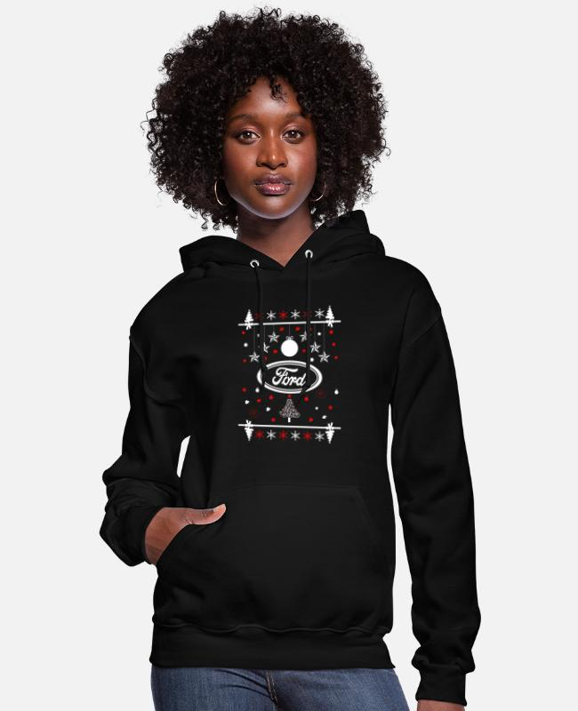 Mustang Hoodies & Sweatshirts - Ford - Merry christmas ford sweater - Women's Hoodie black