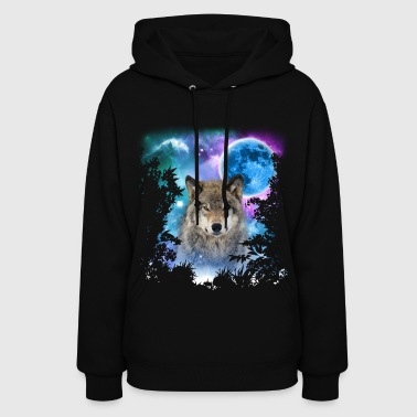 Timber Wolf MidNight Forest - Women's Hoodie