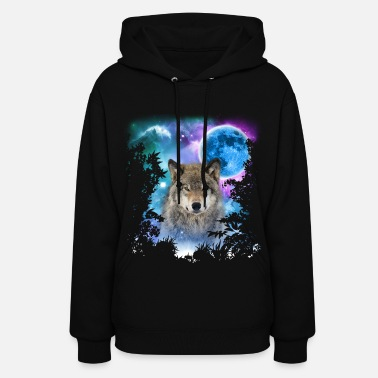 Wolf Timber Wolf MidNight Forest - Women's Hoodie