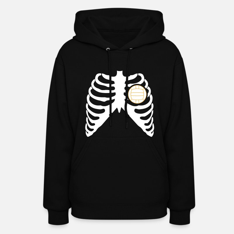 Volleyball Hoodies & Sweatshirts - MY HEART BEATS FOR VOLLEYBALL! - Women's Hoodie black