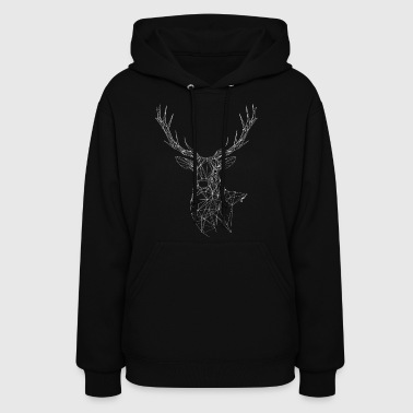 Deer with magnificent antlers of fine lines - Women's Hoodie
