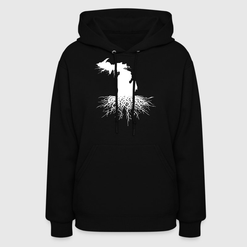 State Of Michigan Rooted Vector Roots Silhouette  - Women's Hoodie