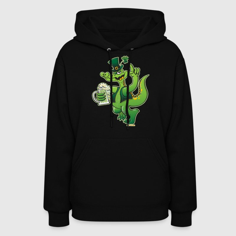 Saint Patrick's Day Crocodile Drinking Beer - Women's Hoodie