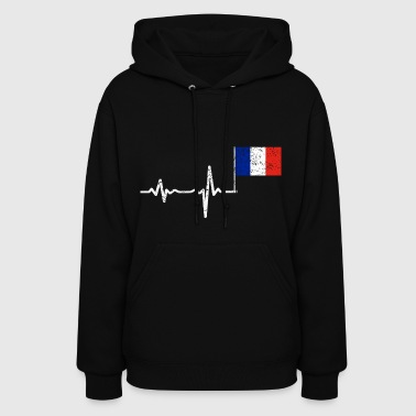 Heartbeat France french flag gift - Women's Hoodie