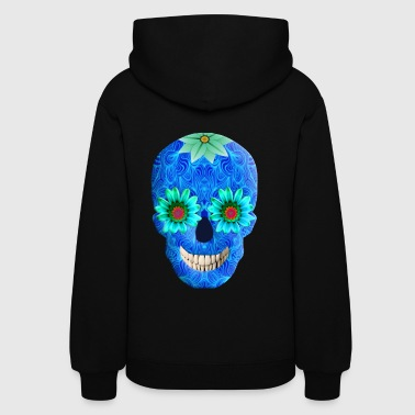 Blue Day Of The Dead Skull - Women's Hoodie