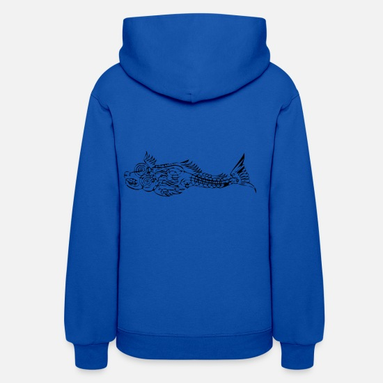 Gift Idea Hoodies & Sweatshirts - fishing Fisherman fish calligraphy - Women's Hoodie royal blue