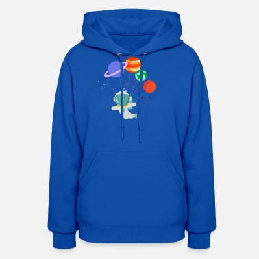 Spaceman Balloon Planets Space Solar System Astronaut Nerd - Women's Hoodie