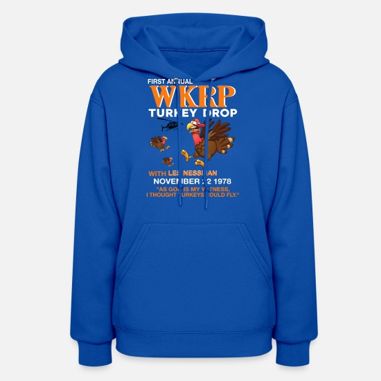 Annual Party Hoodies & Sweatshirts - Thankgiving First Annual WKRP Turkey drop with les - Women's Hoodie royal blue