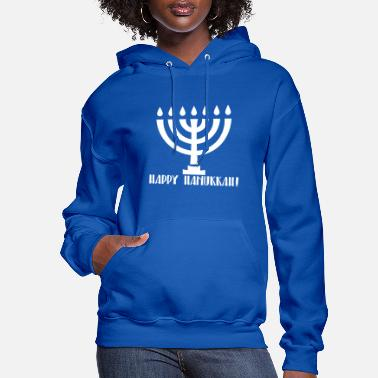 Chanukkah Chanukkah candlestick with Happy Chanukkah writing - Women's Hoodie
