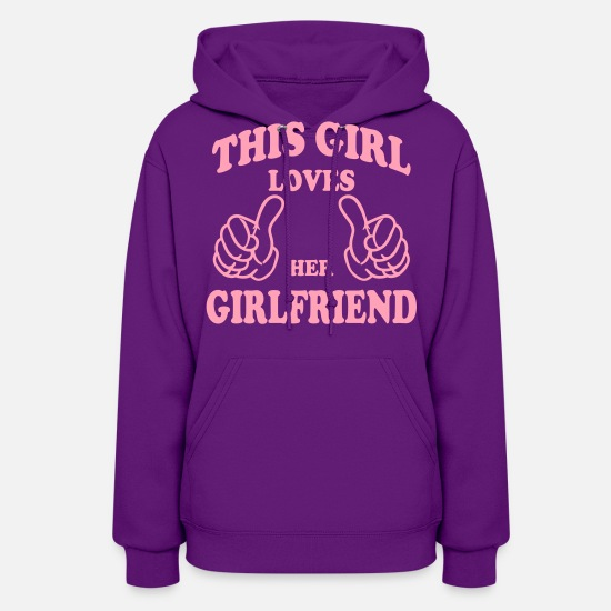 Lesbian Hoodies & Sweatshirts - this girl loves her girlfriend - Women's Hoodie purple