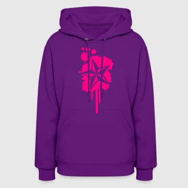 Nautical Star Graffiti Paint Splatter - Women's Hoodie