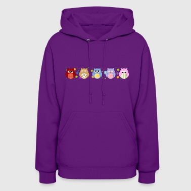 Cute Colorful Owls and flowers - Women's Hoodie