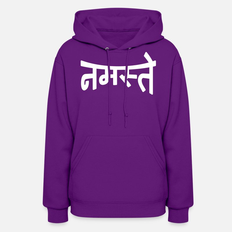 Hindi Hoodies & Sweatshirts - Namaste | नमस्ते - Women's Hoodie purple