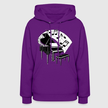 piano with music notes - Women's Hoodie
