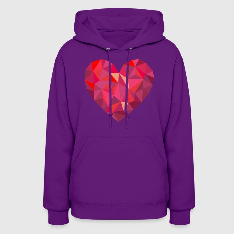 Valentine's Day Geometric Low Poly Heart - Women's Hoodie