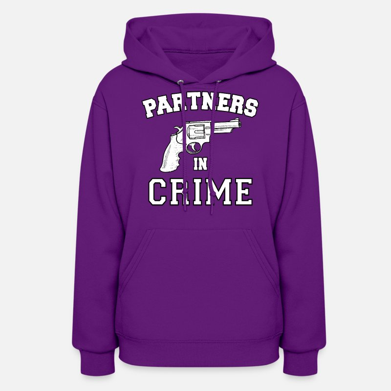 Matching Couples Shirts Hoodies & Sweatshirts - Partners In Crime - Women's Hoodie purple