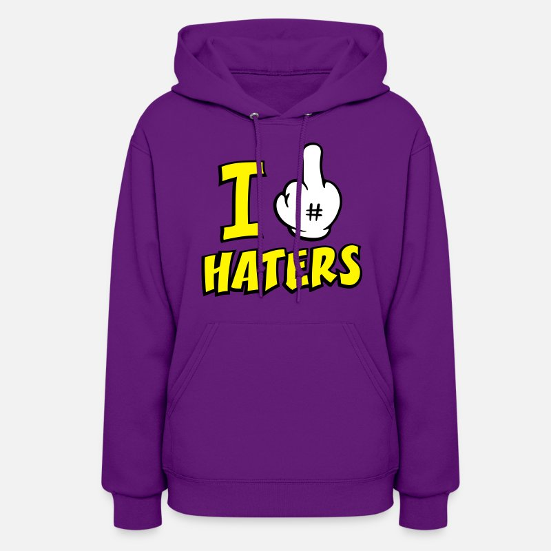 Mickey Mouse Hands Hoodies & Sweatshirts - I FUCK HATERS 3c - Women's Hoodie purple