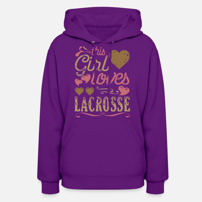 Lacrosse Hoodies & Sweatshirts - This Girl Loves Lacrosse - Women's Hoodie purple