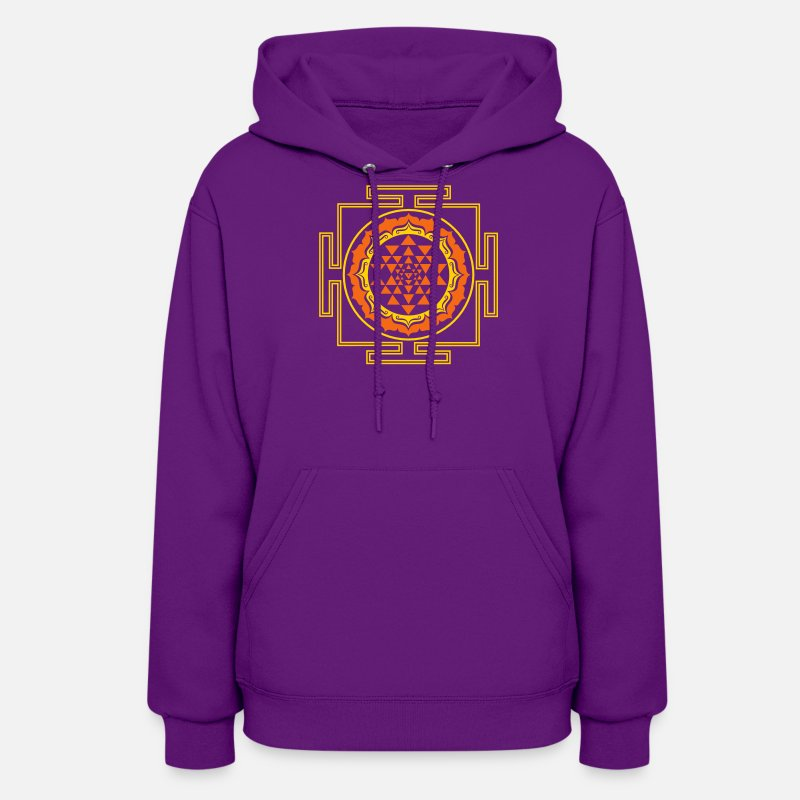 Sri Yantra Hoodies & Sweatshirts - Shri Yantra - Cosmic Energy Conductor   - Women's Hoodie purple