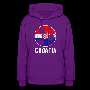 Croatian Football Flag Of Croatia Soccer Ball Dist - Women's Hoodie