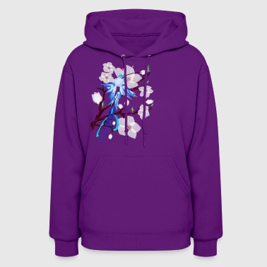 Blue Hummingbird and Cherry Blossoms - Women's Hoodie