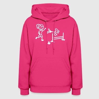 Agility Dog and Handler in Stick Figures - Women's Hoodie