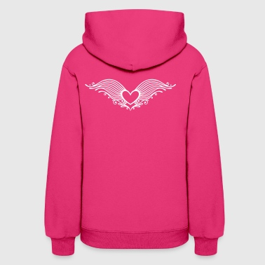Heart With Wings Filigree heart with wings. Winged heart. - Women's Hoodie